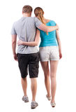 Back view of going young couple Stock Image