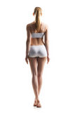 Back view of gorgeous fit girl in sports lingerie standing on isolated background Royalty Free Stock Photos