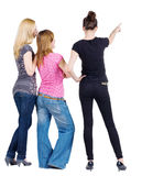 Back view of group beautiful women pointing Royalty Free Stock Image