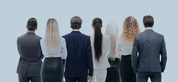 Back view group of business people. Rear view. Isolated over white background. Stock Images