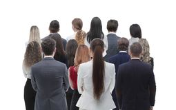 Back view group of business people. Rear view. Isolated over white background. royalty free stock photo