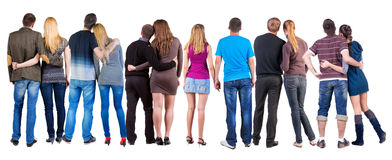 Back view group of couple. Stock Image
