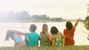 Back view of group of friends enjoying in nature, talking and laughing stock video