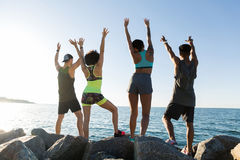 Back view of a group of happy sports people Royalty Free Stock Image