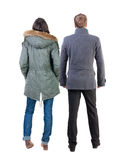 Back view group of people in jacket. stock photo