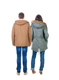 Back view group of people in jacket. Royalty Free Stock Photography