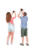 Back view group of people photographed attractions. Stock Photography