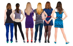 Back view group of woman royalty free stock images