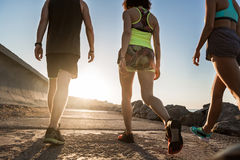 Back view of a group of young runners exercising outdoors Stock Photography
