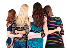 Back view of group of young women discussing and watching . Stock Photos