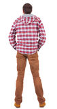 Back view of guy in a plaid shirt with hood  looking. Stock Photos