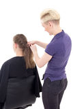 Back view of hair stylist doing haircut to young woman isolated Stock Images