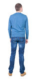 Back view of handsome man in blue pullover looking up. Royalty Free Stock Photo