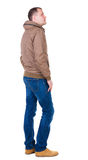 Back view of handsome man in brown windcheater looking up. Royalty Free Stock Photography