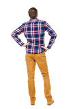 Back view of handsome man in checkered shirt  looking up. Standing young guy in jeans. Rear view people collection.  backside view of person.  Isolated over Stock Photography