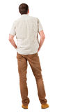 Back view of handsome man in shirt  looking up. Stock Photography