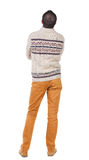 Back view of handsome man in warm sweater Royalty Free Stock Photography