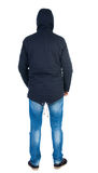 Back view of handsome man in winter jacket  looking up. Standing young guy in parka. Rear view people collection.  backside view of person.  Isolated over Stock Photo
