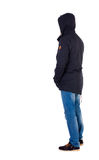 Back view of handsome man in winter jacket  looking up. Royalty Free Stock Photography