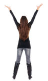Back view of happy business woman in jeans . Stock Photography
