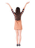 Back view of happy woman in dress. Royalty Free Stock Photos