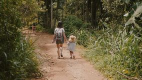 Back view happy young mother together with little child in big straw hat walking down a steep forest road slow motion. stock video