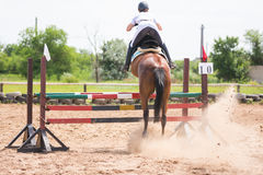Back view of a horse with a rider during take-off when jumping through a barrier Stock Photography