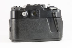 Back view if old film SLR camera on white background Royalty Free Stock Image