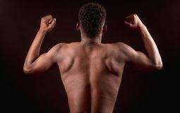 Back view image of Afro american strong male bending elbows the biceps. With clenched fists. strong constitution of body. performing bodybuilding pose Royalty Free Stock Photos
