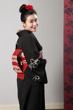 Back view Japanese kimono on happy Asian model Stock Photography