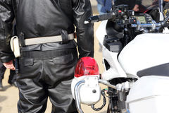 Back view of Japanese police motorcycle Royalty Free Stock Photo