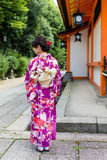 Back view of Japanese Woman with Kimono Stock Photo