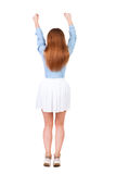 Back view of  joyful woman celebrating victory hands up. Royalty Free Stock Photos
