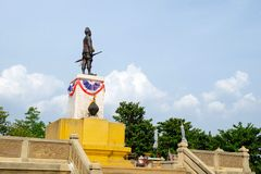 Back view of King U-thong Statue Stock Photo