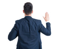 Back view of a lawyer swearing gesture Royalty Free Stock Images