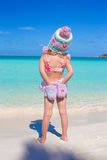 Back view of little adorable girl on tropical Royalty Free Stock Photos