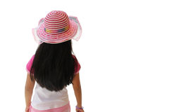 Back view of little girl looking at something. Isolated on white background Royalty Free Stock Photography