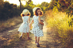 Back view of little girls sisters twins holding hands. Love, friendship concept. Back view of little girls sisters twins holding hands. Love, happy , friendship Stock Image