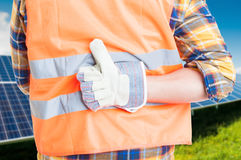 Back view of male engineer showing thumb up Royalty Free Stock Photos
