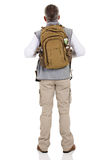 Back view male hiker. Back view of male hiker isolated on white background Royalty Free Stock Photos