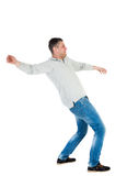 Back view man Balances waving his arms. Stock Photography
