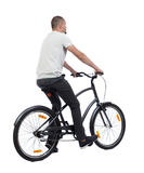 Back view of a man with a bicycle Stock Photography