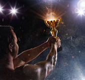 Back view of man fighter with trophy cup in hands, victory gesture. Back view of man fighter holding trophy cup in hands, victory gesture. Concept of hard work stock photos