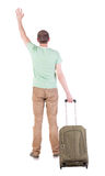 Back view of  man  with suitcase. Royalty Free Stock Photos
