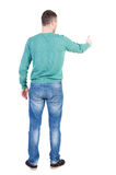 Back view of  man thumbs up. Stock Photography