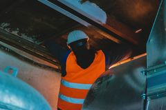 industrial hvac repair installation worker process royalty free stock photography