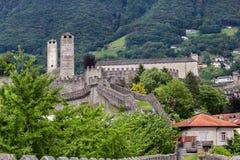 Medieval fortification Castelgrande,  Switzerland. The back view of the Medieval fortification Castelgrande, Bellinzona, Canton Ticino, Switzerland Royalty Free Stock Photo