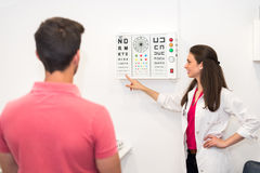 Man checking vision. Back view of men passing test for vision in cabinet of doctor Stock Image