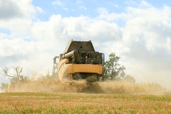 Back view of a modern New Holland combine harvester cutting crops Royalty Free Stock Photo