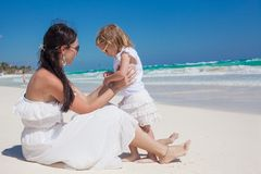 Back view of mother and his little daughter enjoy Royalty Free Stock Photography